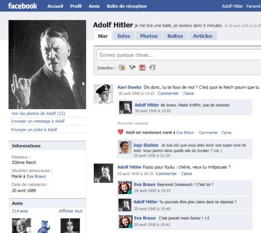 Aperçu de la page Facebook d'Adolf Hitler