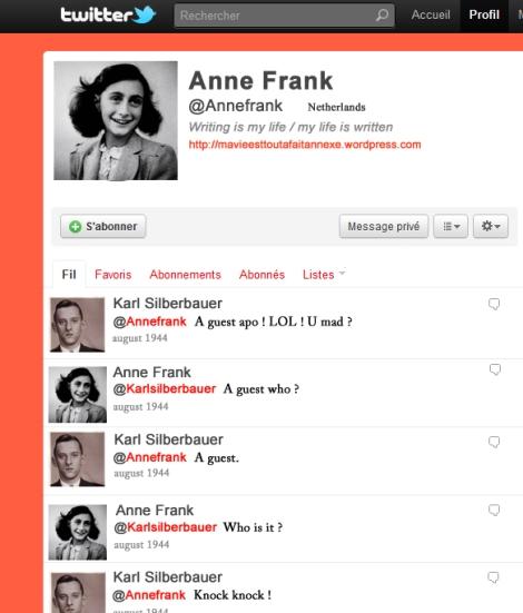 Les derniers tweets de la très internationale Anne Frank