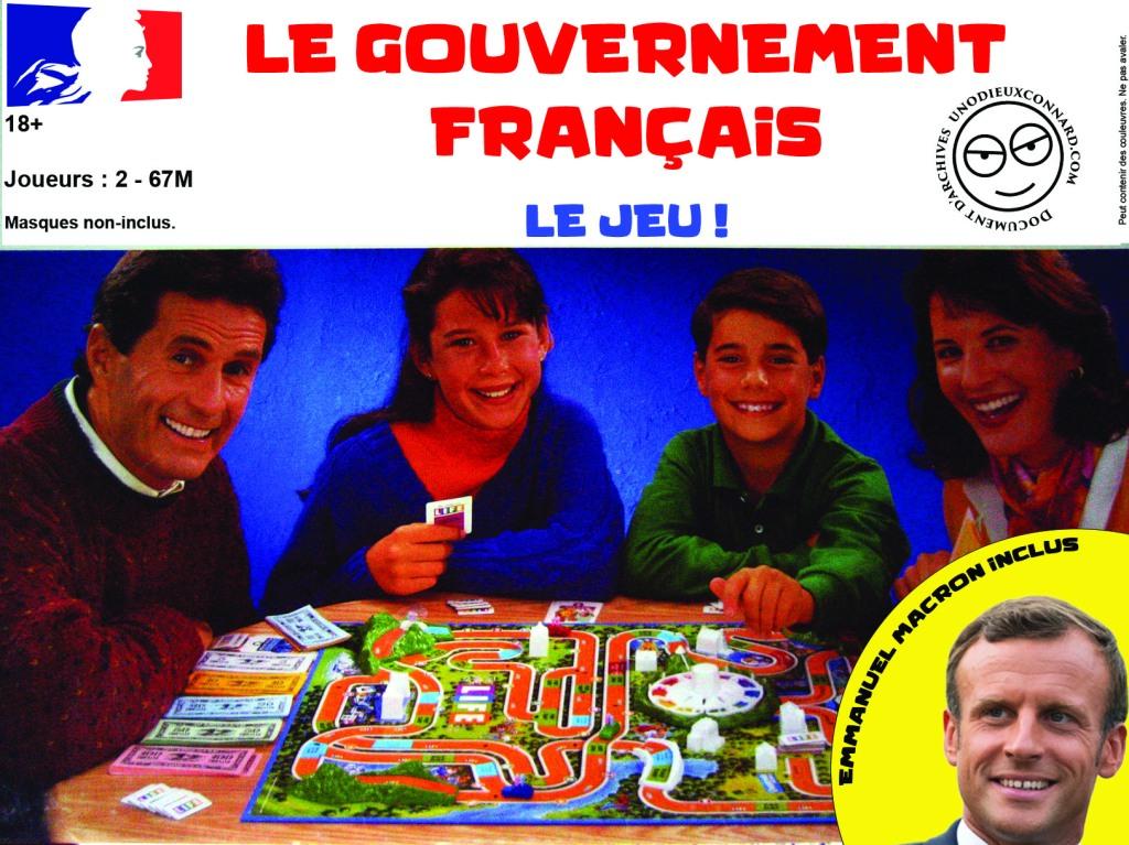 Boite du jeu du gouvernement français, Emmanuel Macron inclus
